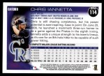 2010 Topps #114  Chris Iannetta  Back Thumbnail