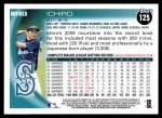 2010 Topps #125  Ichiro Suzuki  Back Thumbnail