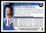 2010 Topps #127  Hank Blalock  Back Thumbnail