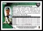 2010 Topps #153  Justin Duchscherer  Back Thumbnail