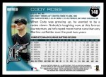 2010 Topps #148  Cody Ross  Back Thumbnail