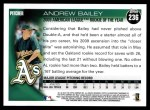 2010 Topps #236   -  Andrew Bailey 2009 AL ROY Award Back Thumbnail