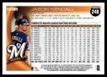 2010 Topps #248  Jason Kendall  Back Thumbnail
