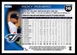2010 Topps #240  Ricky Romero  Back Thumbnail