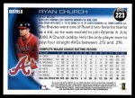 2010 Topps #223  Ryan Church  Back Thumbnail