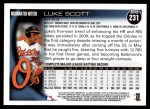 2010 Topps #231  Luke Scott  Back Thumbnail