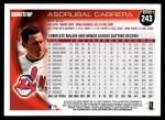 2010 Topps #243  Asdrubal Cabrera  Back Thumbnail