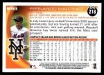 2010 Topps #218  Fernando Martinez  Back Thumbnail