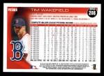 2010 Topps #208  Tim Wakefield  Back Thumbnail