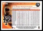 2010 Topps #278  Carlos Delgado  Back Thumbnail