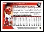 2010 Topps #226  Juan Rivera  Back Thumbnail