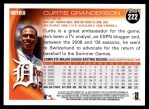 2010 Topps #222  Curtis Granderson  Back Thumbnail