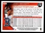 2010 Topps #210  Josh Beckett  Back Thumbnail