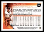 2010 Topps #244  Barry Zito  Back Thumbnail