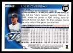 2010 Topps #289  Lyle Overbay  Back Thumbnail
