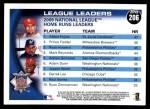 2010 Topps #206   -  Albert Pujols / Prince Fielder / Ryan Howard NL HRs Leaders Back Thumbnail