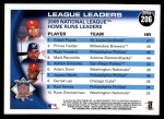 2010 Topps #206   -  Albert Pujols / Prince Fielder / Ryan Howard NL HRs Leaders Back Thumbnail