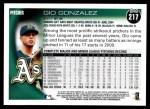 2010 Topps #217  Gio Gonzalez  Back Thumbnail