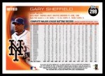 2010 Topps #299  Gary Sheffield  Back Thumbnail