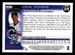 2010 Topps #376  Esmil Rogers  Back Thumbnail