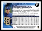 2010 Topps #371  Nick Hundley  Back Thumbnail