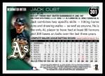 2010 Topps #301  Jack Cust  Back Thumbnail