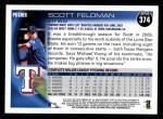 2010 Topps #374  Scott Feldman  Back Thumbnail