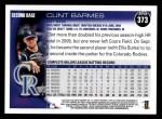 2010 Topps #373  Clint Barmes  Back Thumbnail