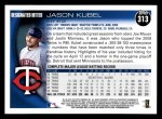 2010 Topps #313  Jason Kubel  Back Thumbnail