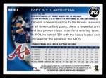 2010 Topps #342  Melky Cabrera  Back Thumbnail