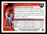 2010 Topps #315  Scott Kazmir  Back Thumbnail