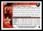 2010 Topps #311  Jose Valverde  Back Thumbnail