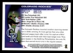 2010 Topps #397   Rockies Team Back Thumbnail