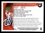 2010 Topps #361   Nationals Team Back Thumbnail