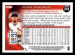 2010 Topps #319  Ryan Franklin  Back Thumbnail