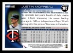 2010 Topps #360  Justin Morneau  Back Thumbnail