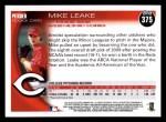 2010 Topps #375  Mike Leake  Back Thumbnail