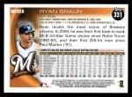 2010 Topps #331  Ryan Braun  Back Thumbnail