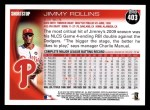 2010 Topps #403  Jimmy Rollins  Back Thumbnail