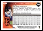 2010 Topps #458  Todd Wellemeyer  Back Thumbnail
