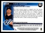 2010 Topps #482  Mike McCoy  Back Thumbnail