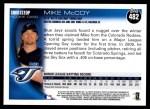 2010 Topps #482  Mike McCoy  Back Thumbnail