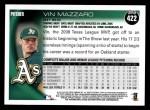 2010 Topps #422  Vin Mazzaro  Back Thumbnail