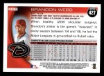 2010 Topps #427  Brandon Webb  Back Thumbnail