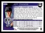 2010 Topps #406  Jeff Francis  Back Thumbnail