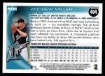 2010 Topps #494  Andrew Miller  Back Thumbnail