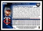 2010 Topps #468  Delmon Young  Back Thumbnail