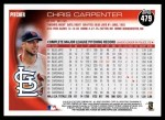 2010 Topps #479  Chris Carpenter  Back Thumbnail