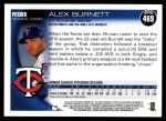 2010 Topps #469  Alex Burnett  Back Thumbnail