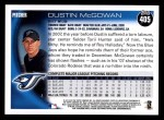 2010 Topps #405  Dustin McGowan  Back Thumbnail